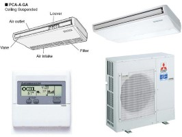 Mitsubishi PCAA36GA PUZA36NHA Ductless Split System 36000BTU Ceiling Suspended