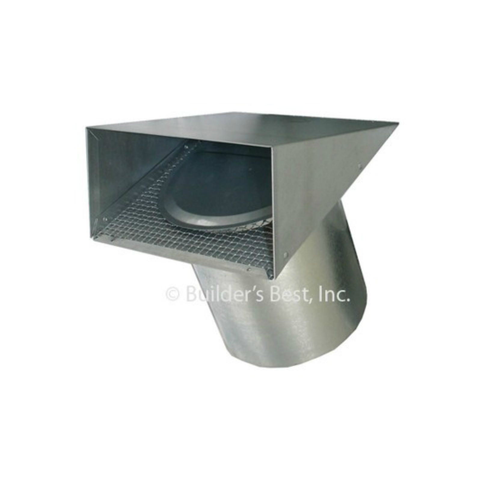 "Builder's Best 111037 - Heavy Duty Galvanized Vent Hood, Tail Included, 6"" X 6"" With Flapper And Screen"