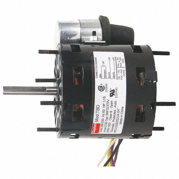 DAYTON 1/10 HP, HVAC Motor, Permanent Split Capacitor, 3000 Nameplate RPM, 208-230 Voltage, Frame 3.3