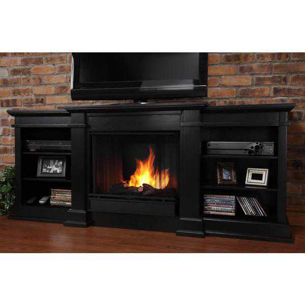 Real Flame Fresno Ventless Gel Fireplace in Black 29Hx72Wx19D
