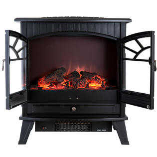 AKDY 23' Electric Fireplace Heat Tempered Glass Freestanding Logs Portable Adjustable 5200 BTU 1500W Heater AK-F-P-0033