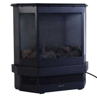 Goplus Free Standing 23ΓÇ¥ Electric Fireplace 1500W Adjustable Heater Fire Tempered Glass