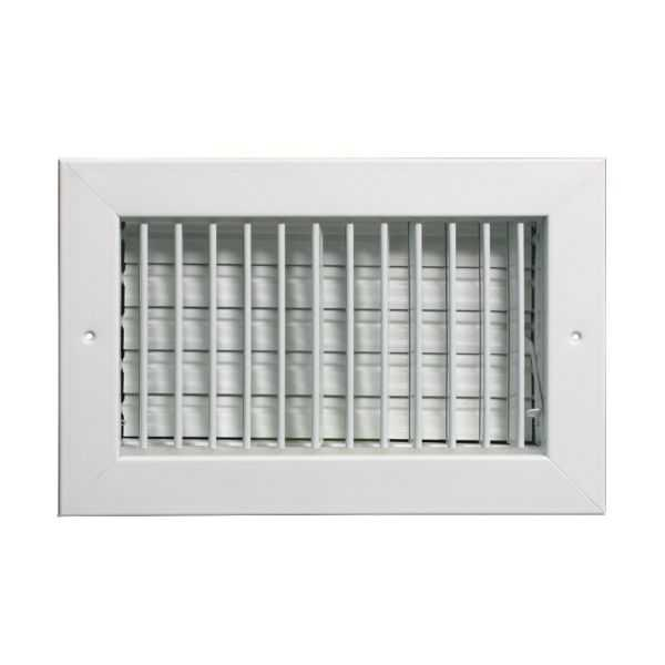 Grille Tech VM1008 - Aluminum Vertical Blade Sidewall Register , Multi-Shutter Damper 10' X 8' White