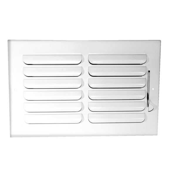 Grille Tech CB1W12X6 - Stamped Steel Ceiling Air Register Curved Blade 1-Way 12' X 6' White