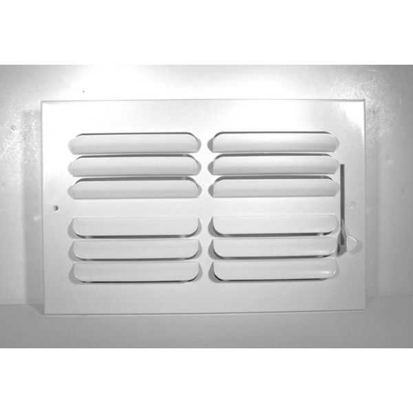 Grille Tech CB2W10X6 - Stamped Steel Ceiling Air Register Curved Blade 2-Way 10' X 6' White